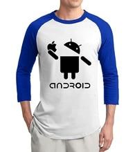 2019 summer 3/4 sleeve Creative Android Cartoon men t shirts unique design adult raglan tees 100% cotton high quality tshirt men