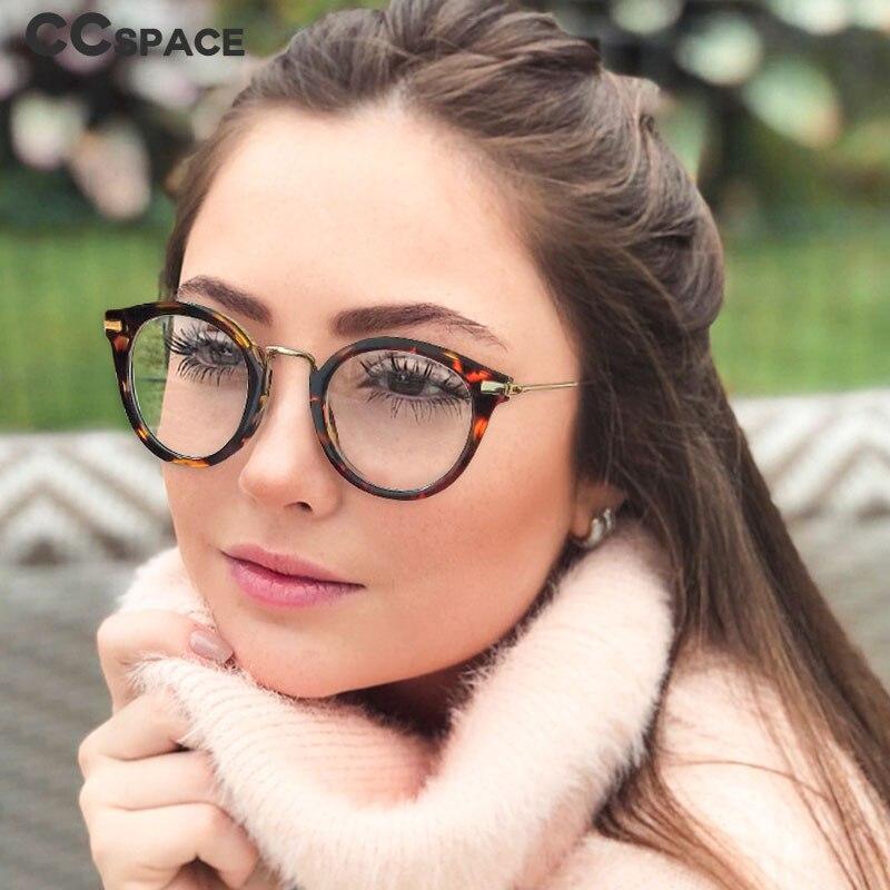 45764 Cat Eye Round Glasses Frames Men Women Metal Frame Optical Fashion Computer Glasses