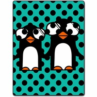 Blanket Comfort Warmth Soft Plush Easy Care Machine Wash Cartoon Cute Funny Penguin Wave Point Design