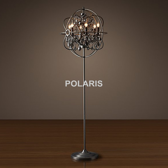 Factory Outlet Modern Vintage Crystal Candle Floor Lamp Orb Cristal Floor Light Home Lighting Decoration By