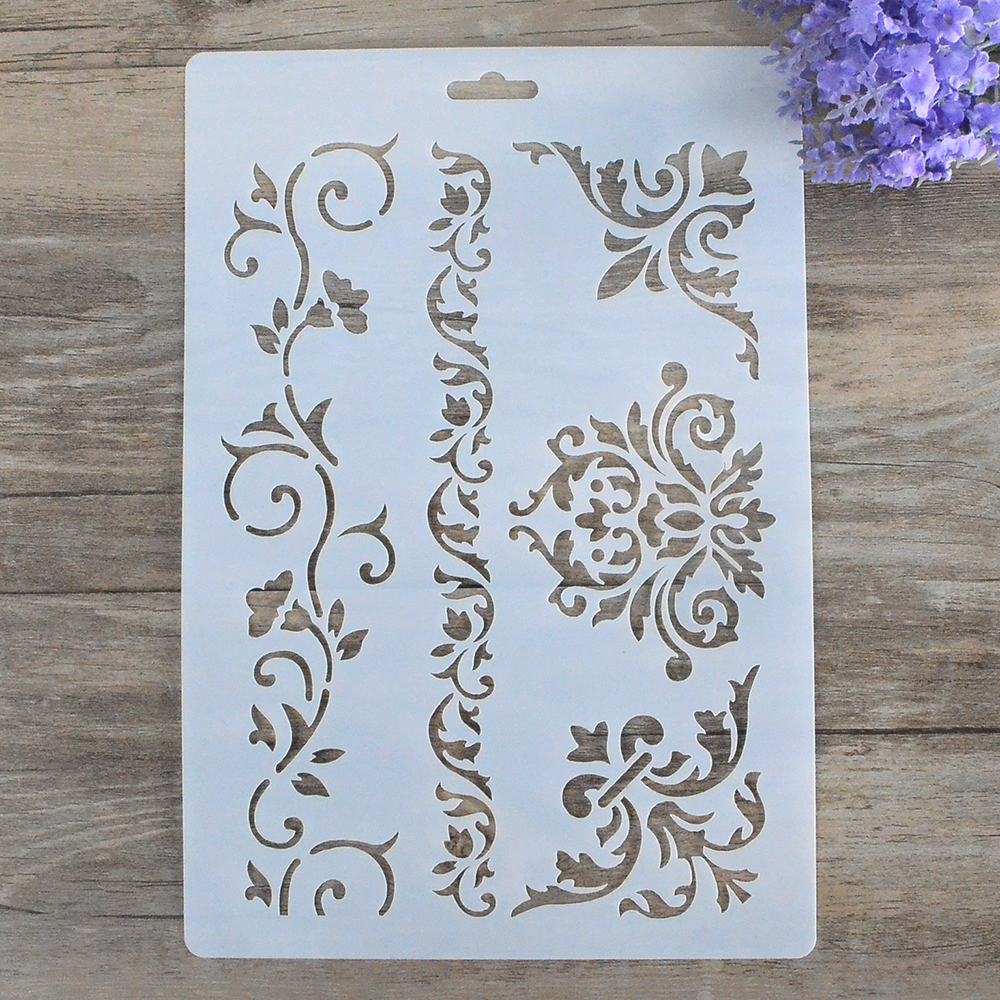 DIY Craft Vine Flower Layering Damask Stencils para DIY Scrapbooking Estampación Álbum Artesanía Tarjetas de papel decorativo