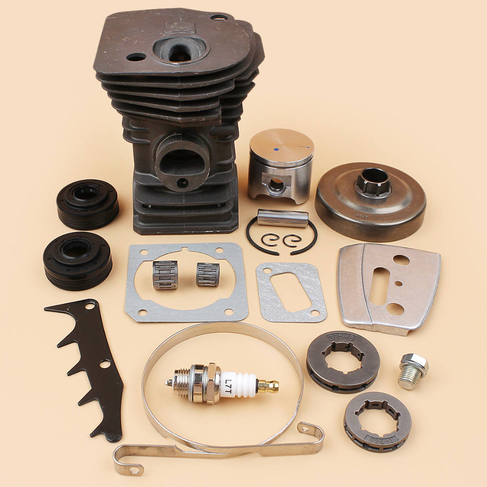 42mm Cylinder Piston Clutch Drum Bearing Oil Seal Kit For HUSQVARNA 340 345 Gasoline Chainsaw Chain Saws Parts 10mm Pin