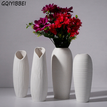 Stylish Geometric White Ceramic Vase Chinese Arts Crafts Decor Porcelain Flower Vase Creative Gift Household Wedding Decoration