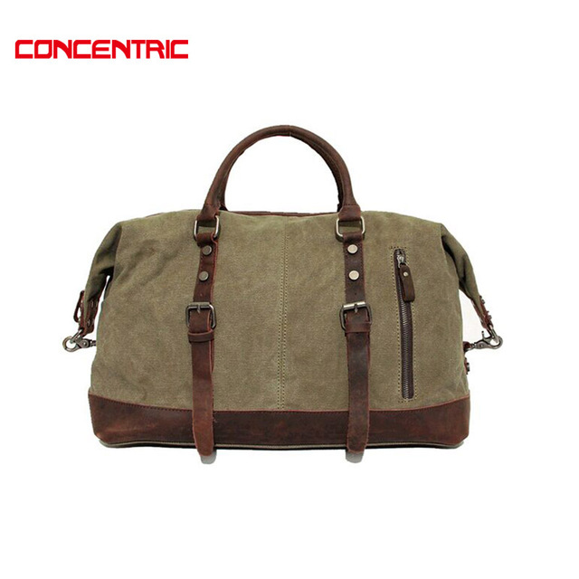 Vintage military Canvas Crazy horse men travel bags Carry on Luggage bags Men Duffel bag travel tote large weekend Bag Overnight