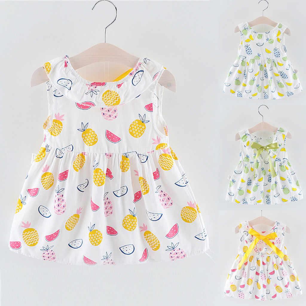 Muqgew для малышей для маленьких девочек без рукавов с О-образным вырезом на шее Фрукты Ананас арбуз печати ремень платье с оборками и бантом одежда От 0 до 2 лет; богемный комплект, roupa infanti
