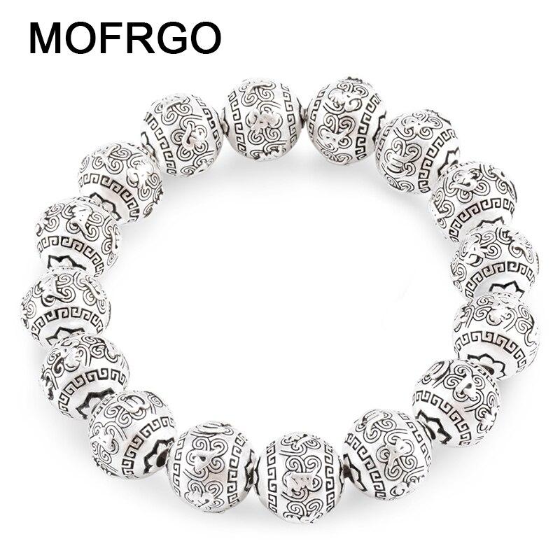 MOFRGO Ethnic Vintage Bangle Buddha Bracelet Plated Silver Meditation Prayer Beads Engraved Bracelets For Women Men Jewelry