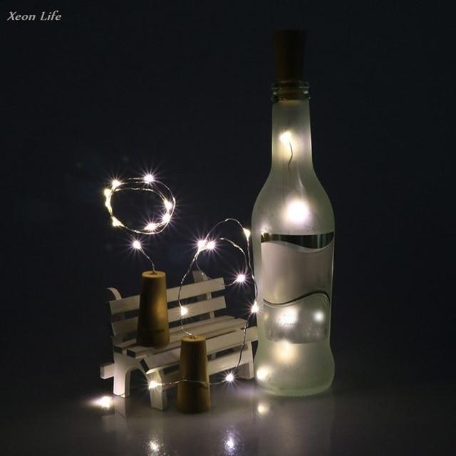 ISHOWTIENDA Solar Wine Bottle Cork Shaped String Light 10 LED Night Fairy Light Lamp New  Christmas Halloween Lighting Decor