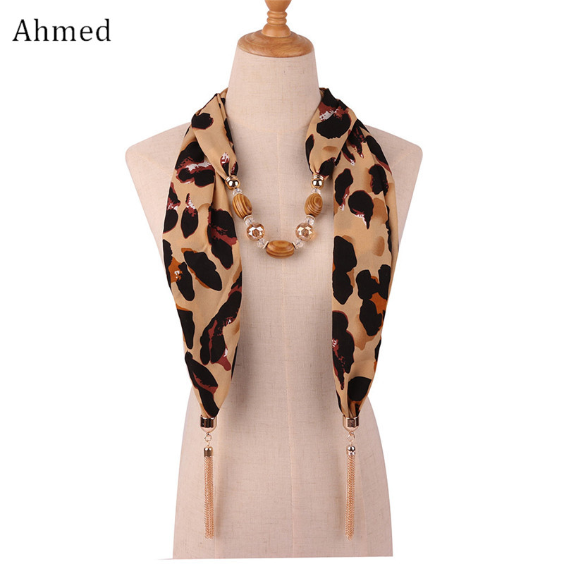 Ahmed 2019 New Fashion Snake/Leopard Printing Pendant Necklace  Scarf for Women Muslim Head Tassel Scarf Female Cloth  AccessoriesPendant Necklaces