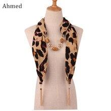 Ahmed 2019 Nieuwe Mode Slang/Leopard Printing Hanger Ketting Sjaal voor Vrouwen Moslim Hoofd Kwastje Sjaal Vrouwelijke Doek Accessoires