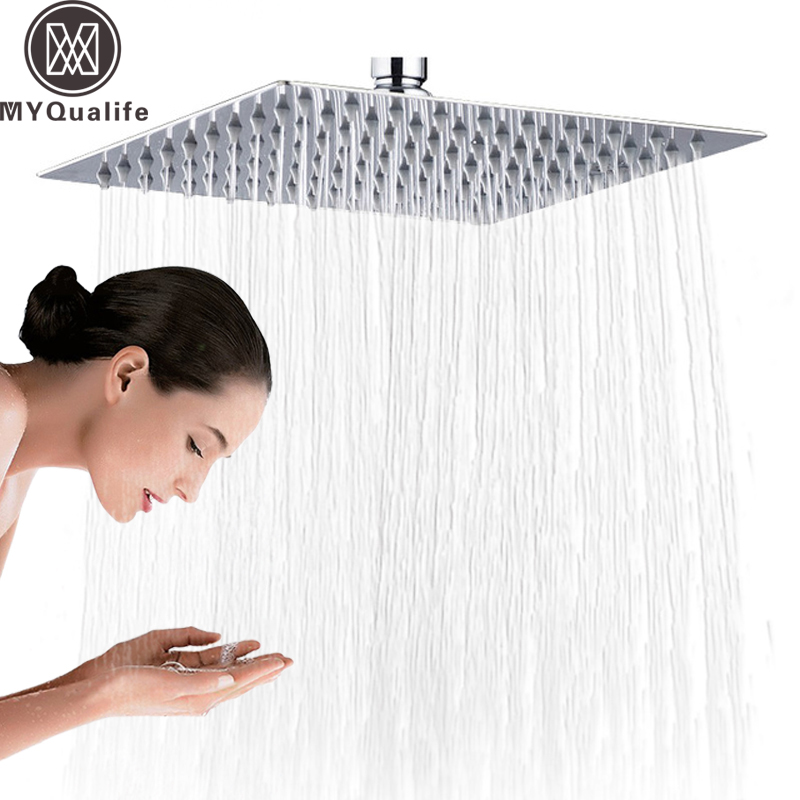 Chrome 16 inch Square Rainfall Shower Head Ultrathin Stainless Steel Showerhead Chrome Finish Top Rain Head Shower Faucet Head flow ristrictor air booster 25% water save polish chrome stainless steel square high pressure 12 inch rain shower head