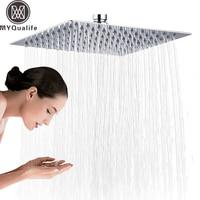 Chrome 16 inch Square Rainfall Shower Head Ultrathin Stainless Steel Showerhead Chrome Finish Top Rain Head Shower Faucet Head