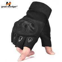 Outdoor Tactical Gloves Half Finger Sports Riding motorcycle Military Mens Carbon Protection Shell Cycling