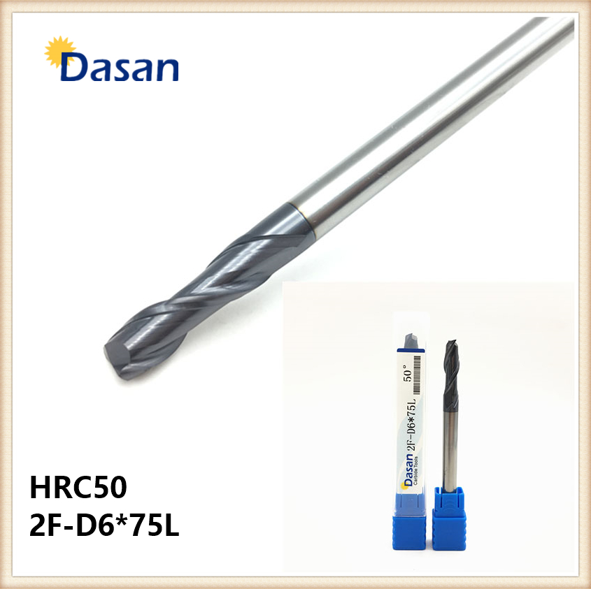 HRC50 End Mill 2F 6mm 8mm 75L Solid Carbide Extral Long Length Straight Shank Flat EndMills for CNC Milling Cutter 10pcs box 1 8 inch 0 8 3 17mm pcb engraving cutter rotary cnc end mill milling cuter drill bits