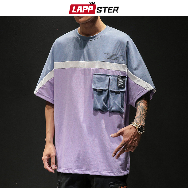 LAPPSTER Men Japanese Streetwear Tshirt 2019 Color Blcok Harajuku Pockets Korean T Shirts Hip Hop Oversized T Shirt Plus Size