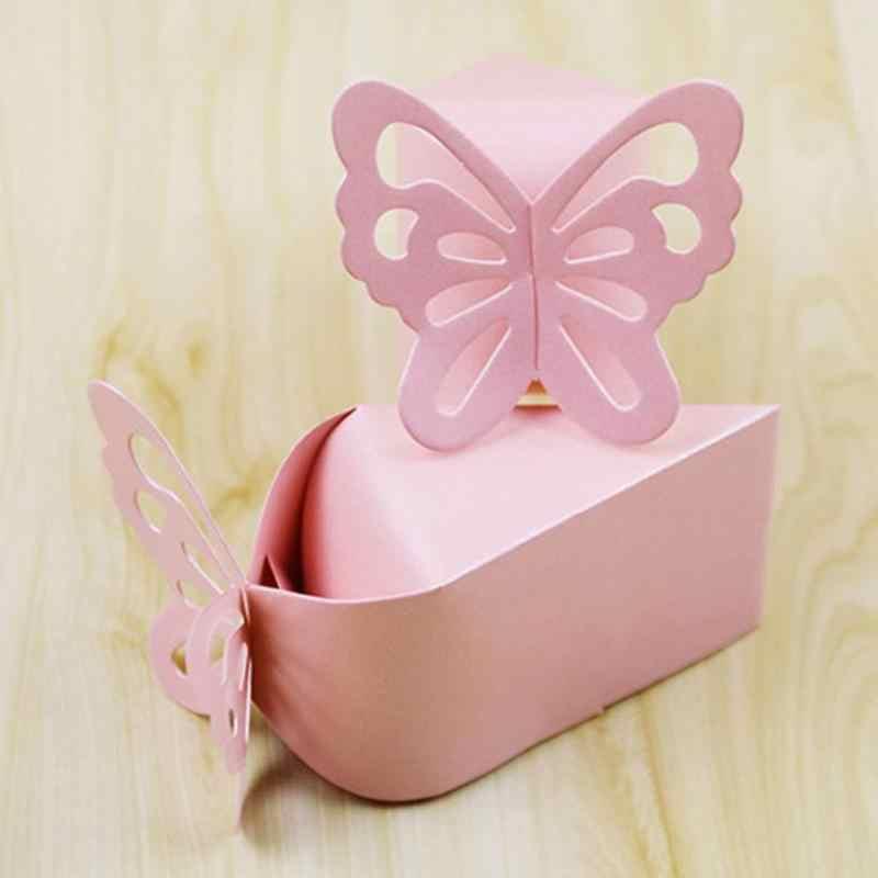 100 шт Бонбоньерки с бабочками для свадебного декора крещение, рождение детские подарки для душа сувениры для гостей вечерние торжественные принадлежности для крещения