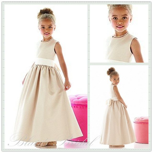 311a6c76e39 Empire High Waist Design Sleeveless A-Line Gown Floor Length Style Light  Color Gold Flower Girl Dresses