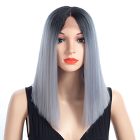 Bling Hair African American Shoulder Length Ombre Blonde Green 8 Colors Straight Synthetic lace Front Wigs For Women