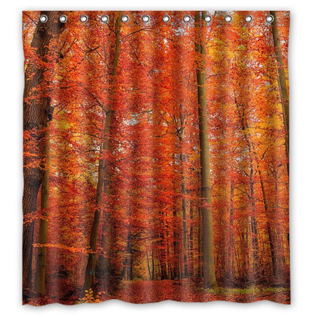 Beautiful Autumn Trees Customize Shower Curtain Fabric Bath Bathroom Waterproof Curtains Size 48x7260x72