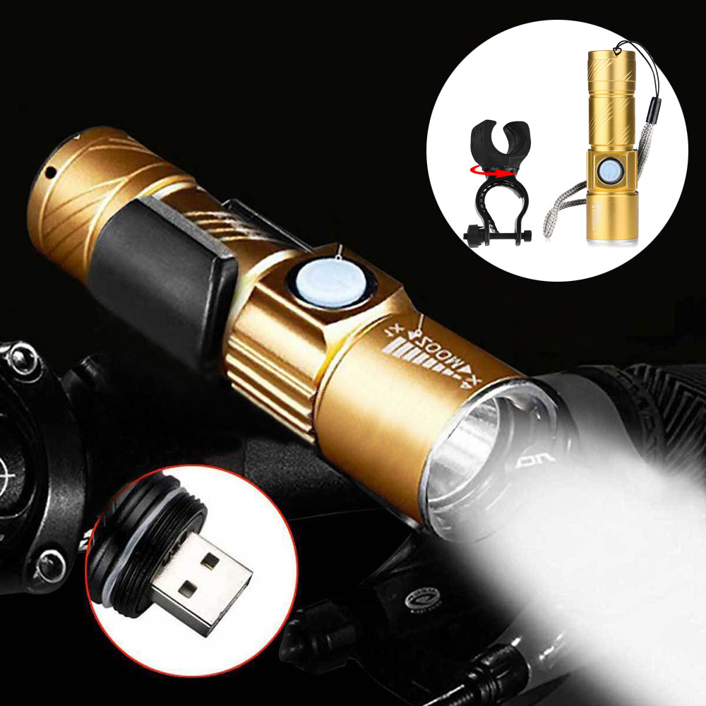 New Fashin Outdoor Product Professional USB Rechargeable Bicycle Flashlight LED Bike Waterproof +Holder 20