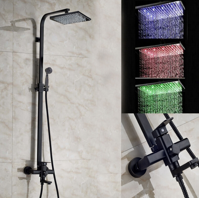 8 10 12 16 LED Square Shower Head Faucet Oil Rubbed Bronze Tub Spout Mixer Hand