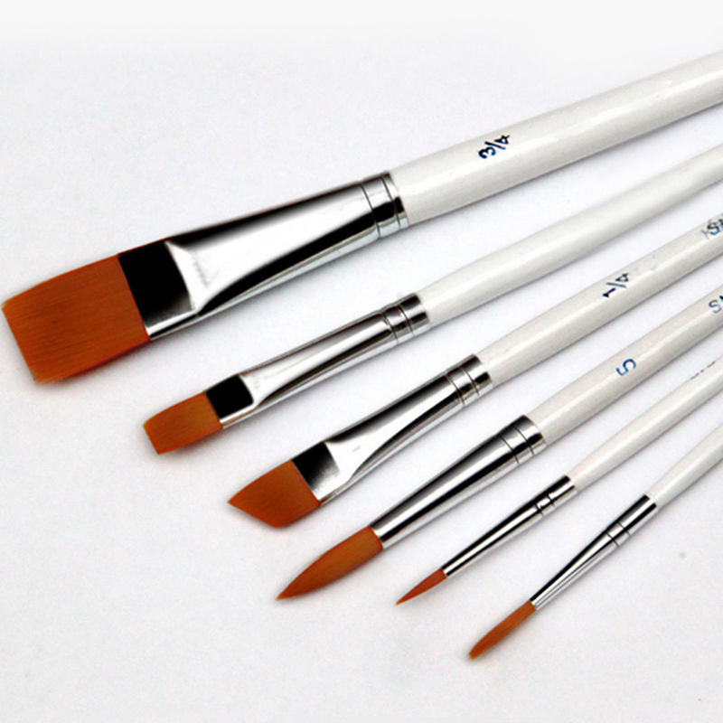6pcs/Set Painting Brush Oil Paint Nylon Hair Water Color Pais