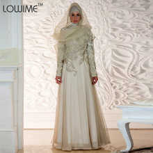 2015 Fashion Embroidery High Neck Turkish Islamic Clothing Male Arabic Gown Dresses With Hijab Long Sleeve Muslim Evening Dress