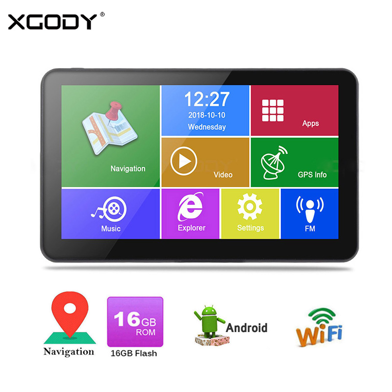 XGODY Android Car GPS Navigation 7 Inch HD Truck Navigator 512MB 16GB WiFi Tablet PC TF FM Navitel US AU 2018 EU Free MapXGODY Android Car GPS Navigation 7 Inch HD Truck Navigator 512MB 16GB WiFi Tablet PC TF FM Navitel US AU 2018 EU Free Map