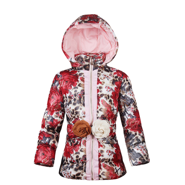c459efab2 Girls Winter Jackets 2018 Baby Girls Warm Cotton Padded Coats Flower Print  Casual Clothes Kids Thick Jackets Outerwear For Girls