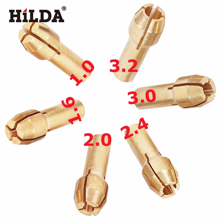 HILDA 6 Pieces Mini Drill Brass Collet Chuck For Dremel Rotary Tool Including 1.0/1.6//2.0/2.4/3.0/3.2mm