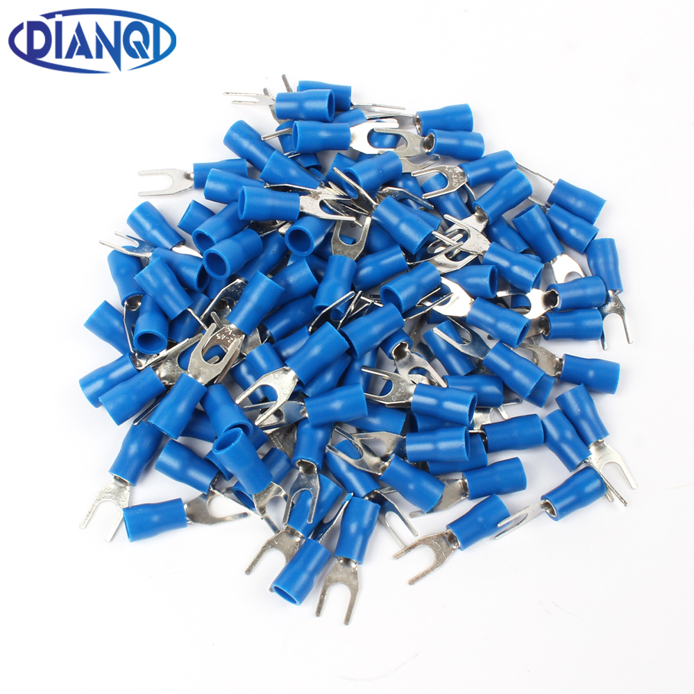 SV2-4 Blue Furcate Cable Wire Connector 100PCS/Pack Furcate Pre-Insulating Fork Spade 16~14AWG Wire Crimp Terminals SV2.5-4 SV позитив лежак нейлон коричневое