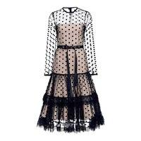 Queenus Frauen Party Kleider 2018 Sommer Sexy Tupfen Spitzenkleid Aushöhlen A-line Weiblich Langes Kleid (Nur Größe S M im shop