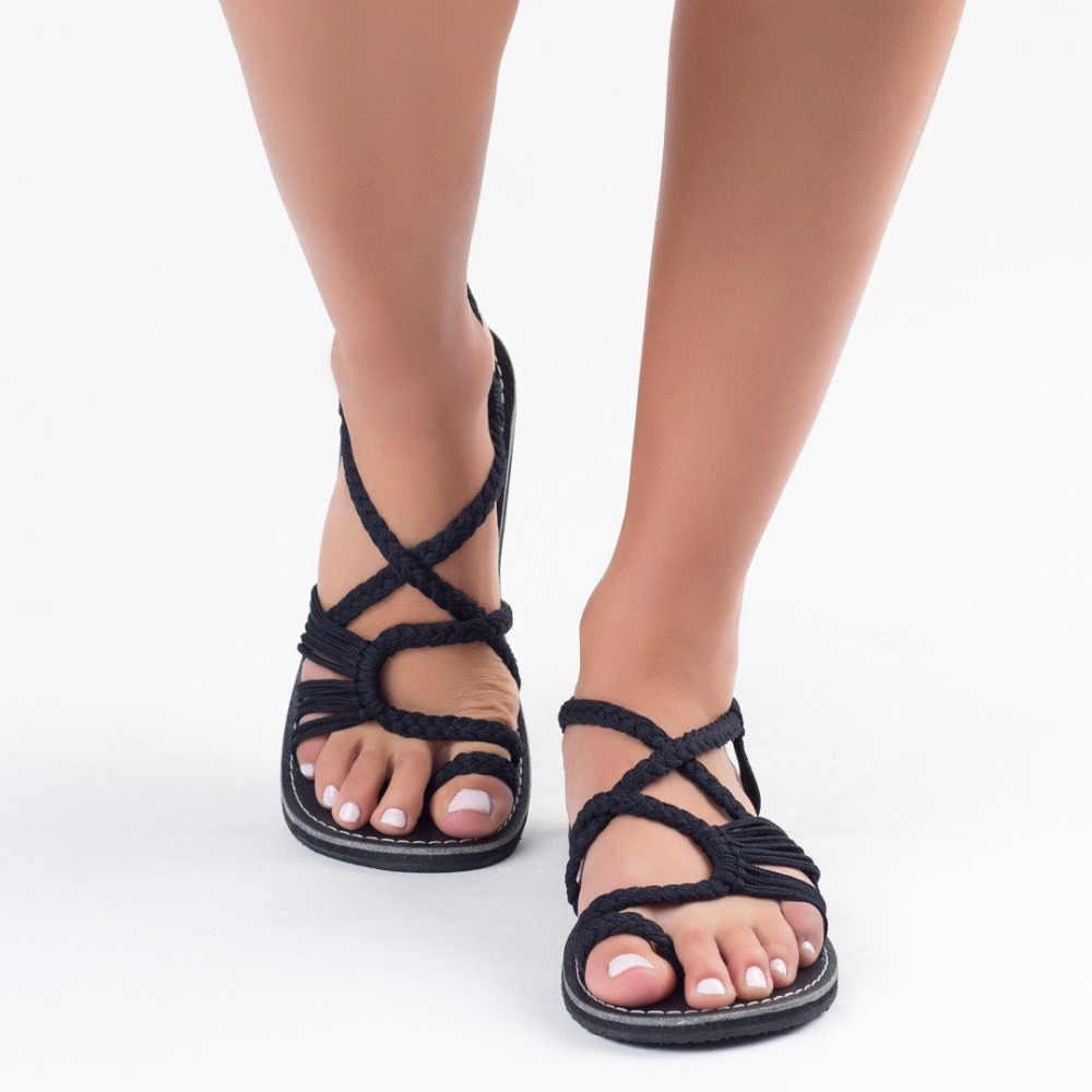 Adisputent 2019 קיץ נשים סנדלי אלסטי רצועת שטוח סנדל חרוזים ינשוף נעל נשים חוף פלופ נשי נעליים