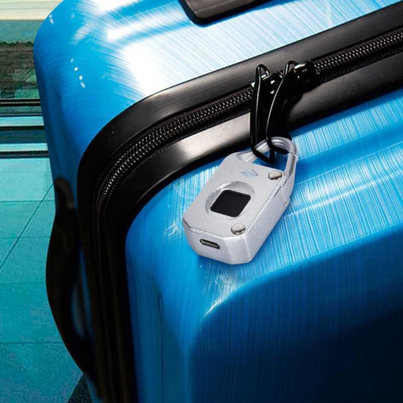 Fingerprint Lock Home Use Anti-thief Locking USB Rechargeable Waterproof Travel Suit Case Padlock