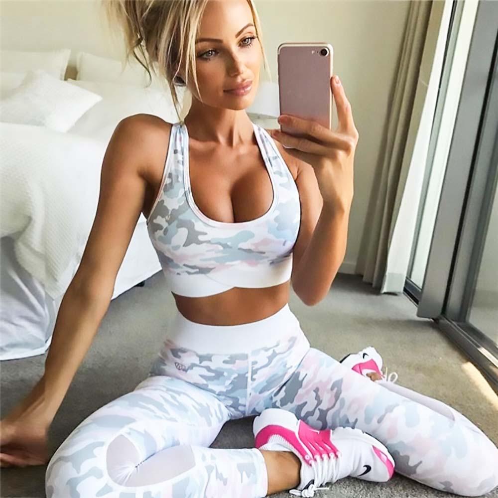 FDBRO 2019 High Waist Elastic Yoga Suit Camouflage Printing Fitness Gym Sportswear For Women Capri Clothing Yoga Set Free Ship