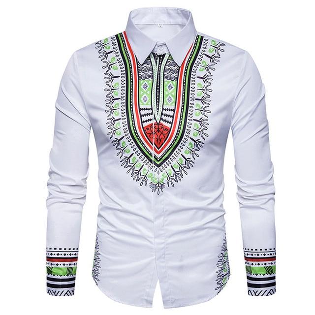 4990239f412 3D Print Shirt Men Chemise Homme 2017 Traditional Dashiki Men Shirt Long  Sleeve Slim Fit Male Shirts Casual Mens Dress Shirts