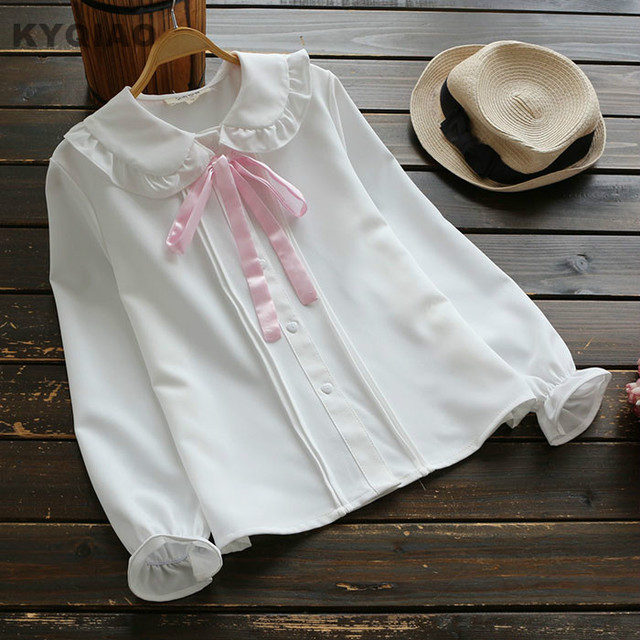 e6bf401cc € 18.1  KYQIAO Mori niñas otoño KAWAI manga larga peter pan collar Rosa  bowknot blusa blanca Lolita camisa uniforme escolar japonés en Blusas y ...