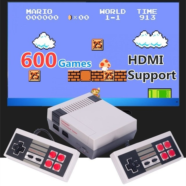 8Bit 4K HDMI Output Retro Classic Handheld Game Player TV Video Game Console Built-in 600 Games Mini Console PAL&NTSC 2 Gamepads