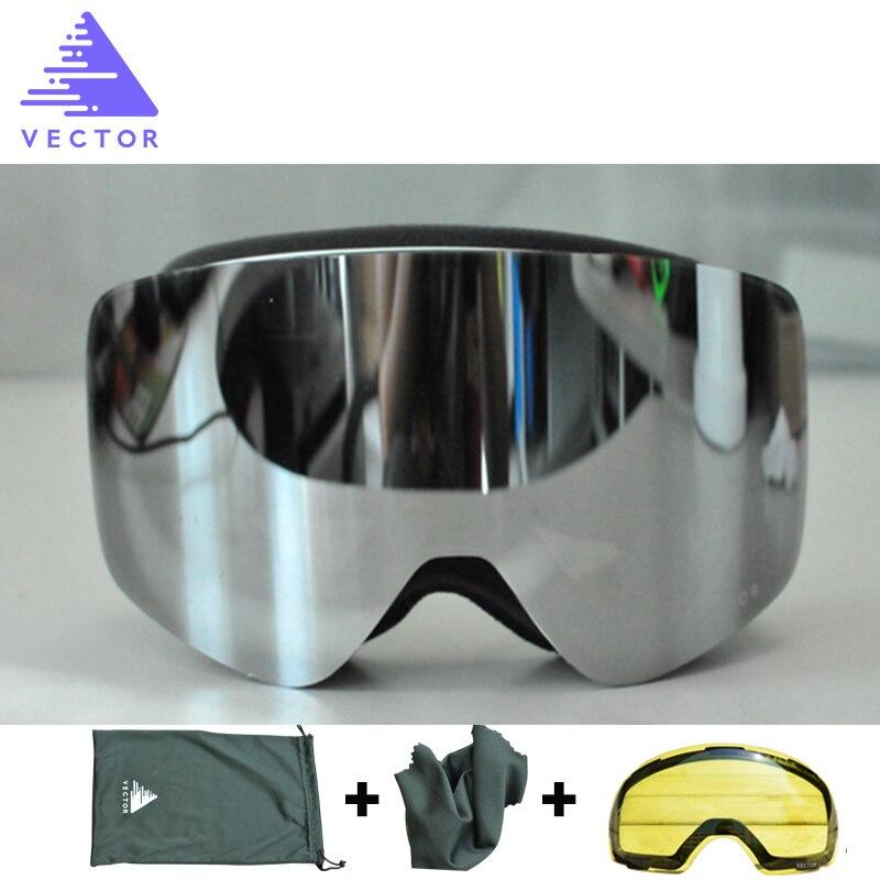 VECTOR marque lunettes de Ski Double lentille UV400 Anti-buée femmes hommes Snowboard Ski lunettes neige lunettes avec lentille supplémentaire - 2