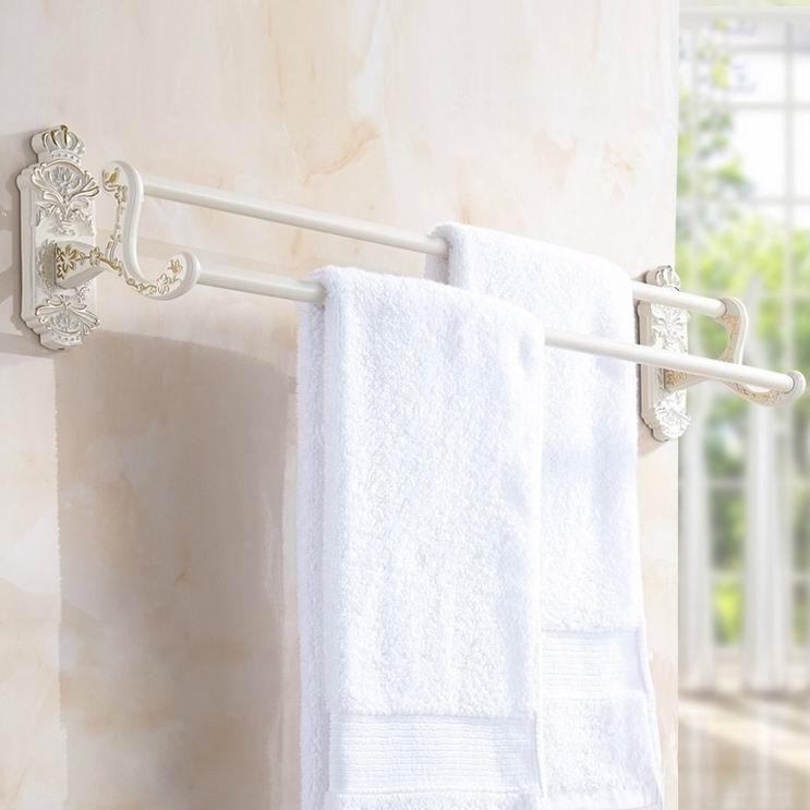 ФОТО Free Shipping High Quality Double Towel Bars Elegance Concise Towel Racks Towel Holder Bathroom Accessories Dual white towel bar