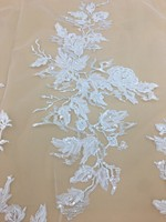 51 Inch Wide 1 Yard Embroidery Lace Fabric for Bridal Wedding/Evening Dress Fabric Floral Veil Lace Trim