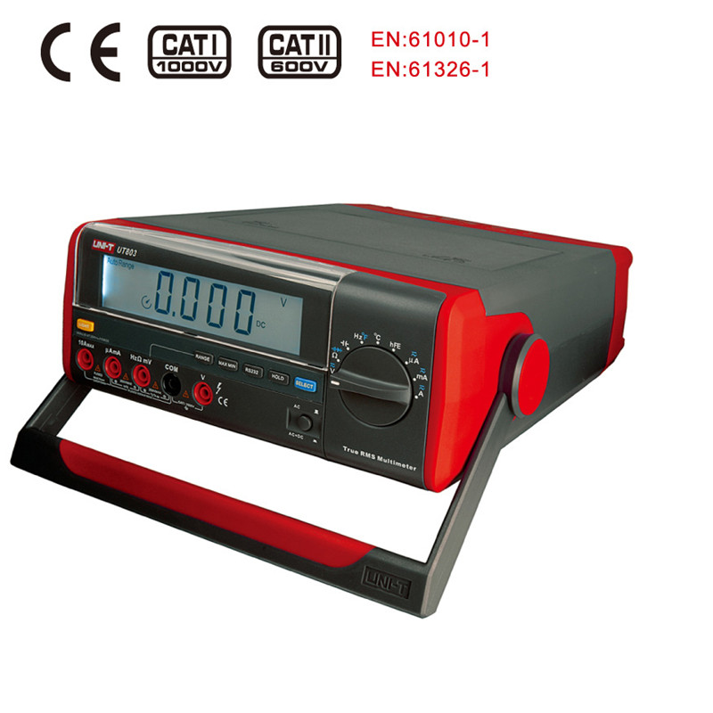 UNI-T UT803 UT-803 Bench Top Digital Multimeter 1000V 10A Volt Amp Ohm Capacitance Temp Tester uni t ut70b lcd digital multimeter volt amp ohm temp capacitance tester