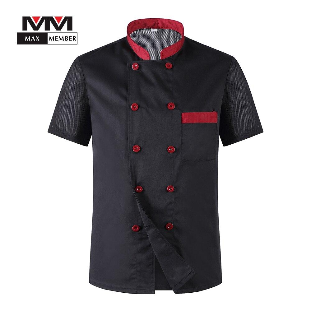 Hommes manches courtes respirant maille Patchwork Chef Service alimentaire Cuisine cuisinier vêtements de travail T-shirt Cuisine travail uniformes tabliers M-3XL