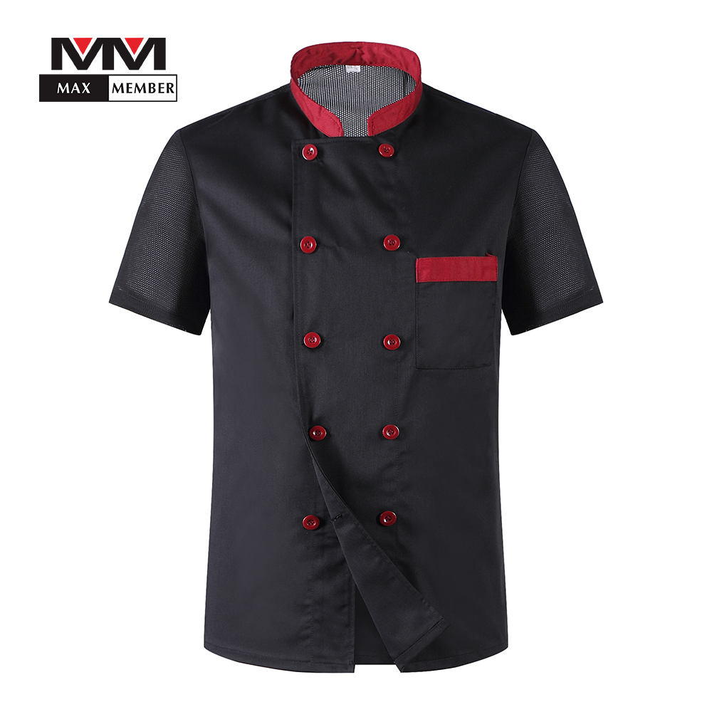 Men Short Sleeves Breathable Mesh Patchwork Chef Food Service Cuisine Cook Workwear T-shirt Kitchen Work Uniforms Aprons M-3XL