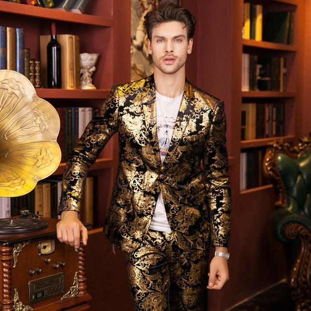 Más el Tamaño 48-56 Moda Otoño Invierno Pantalones de Los Hombres Trajes de Chaqueta de Terciopelo de Oro de Lujo Del Partido Slim Fit Traje Homme Vestido de novia