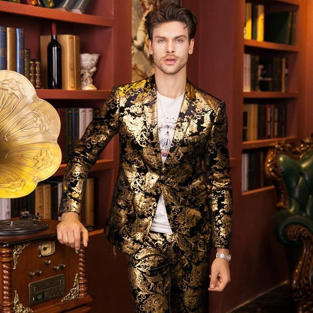 Plus Size 48-56 Fashion Autumn Winter Luxury Men Suits Gold Velvet Blazer Trousers Slim Fit Party Costume Homme Wedding Dress