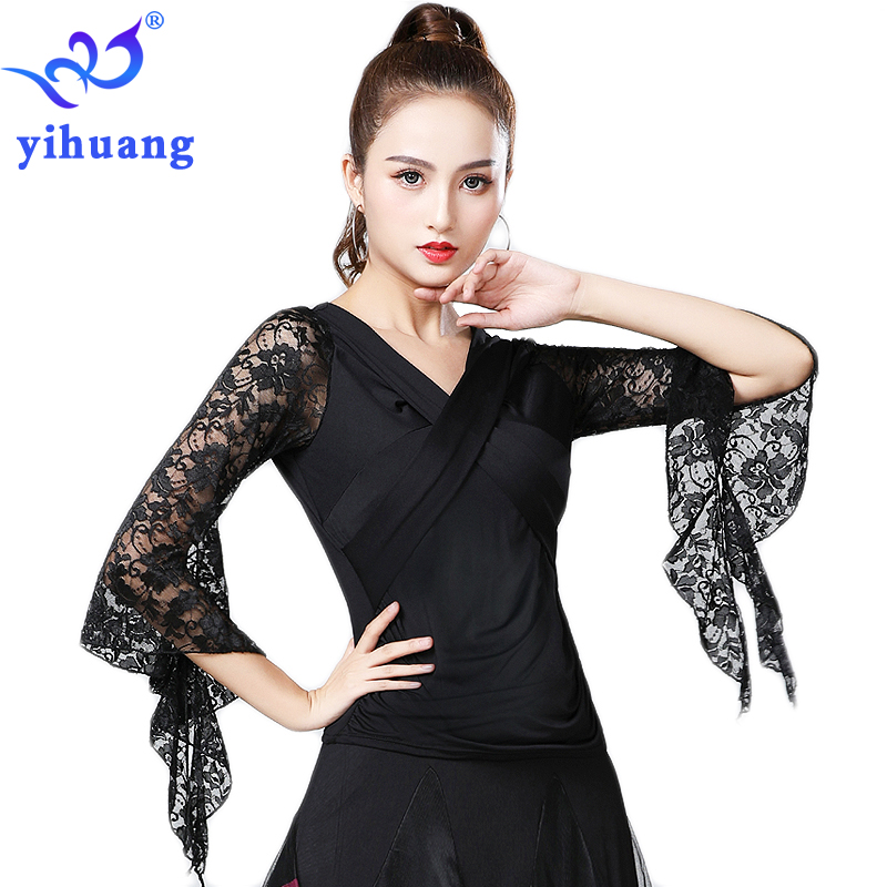 2019 Summer New Women Waltz Ballroom Dance Tops Modern Standard Tango Latin Dancewear Party Performance Blouses Lace Bell Sleeve