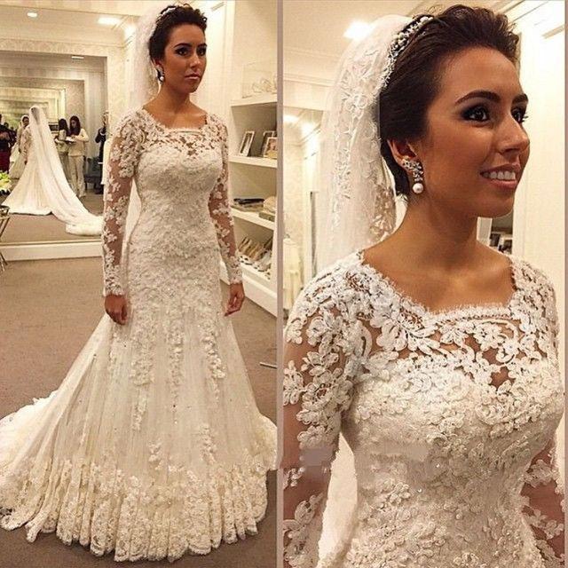 Ivory Long Sleeves Mermaid Wedding Dresses 2019 Cheap Summer Beach Garden  Beaded Lace Court Train Zipper Merry Bridal Gowns 2e4fc1458ca3