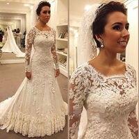 Ivory Long Sleeves Mermaid Wedding Dresses 2018 Cheap Summer Beach Garden Beaded Lace Court Train Zipper Merry Bridal Gowns