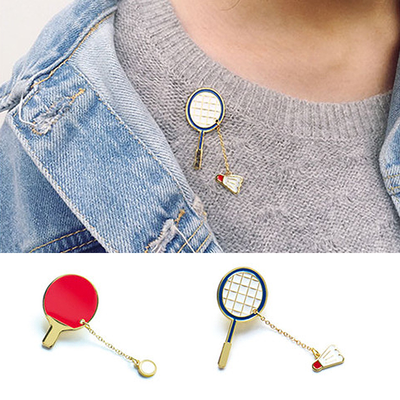 Sale 1PC Creative cartoon sports badminton table tennis ball brooch For Women clothing