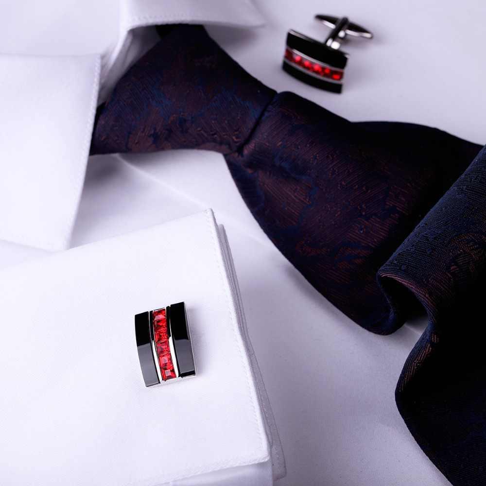 MAISHENOU takı fransız gömlek moda kol düğmeleri erkek marka kol düğmeleri kırmızı kristal düğmeler yüksek kaliteli mücevher